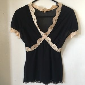 Tops - Sheer black top with cream lace trim. XS